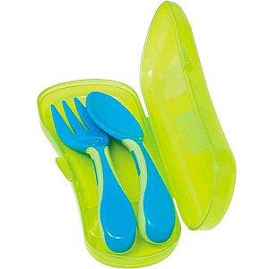 Kit Infantil Com Garfo Colher Estojo Buba Bebê Azul