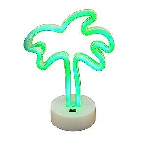 Luminária Abajur Led Verde Neon Palmeira Enfeite Decoração 26cm