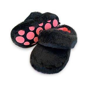 Pantufa Ricsen Kick Colors Pelúcia Preto Feminino