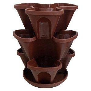 Vasos Empilháveis Para Terra e Hidropônicas Cor Jatobá