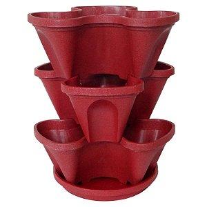 Vasos Empilháveis Para Terra e Hidropônicas Vermelho