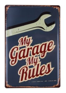Placa Decorativa My Garage My Rules