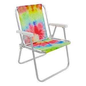 Cadeira de Praia Alta Tie Dye Aluminio Retratil