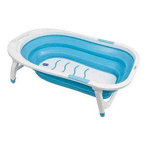 Banheira Bebê Menino Portátil Dobrável Buba Azul