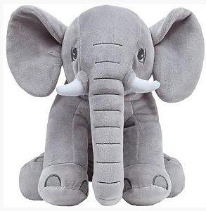 Almofada Travesseiro Elefantinho De Pelúcia Cinza