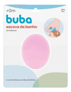 Escova de Banho em Silicone para Bebê Buba Rosa