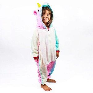 Macacão Kigurumi Infantil 7 A 8 Anos Unicornio Colorido