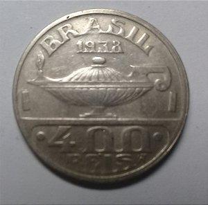 Moeda Brasil 400 Réis 1938 Oswaldo Cruz Cuproníquel Muito Bem Conservada