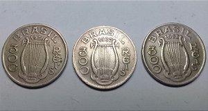 Lote 3 Moedas Brasil 300 Réis 1936, 1937 e 1938 Carlos Gomes Cuproníquel Muito Bem Conservadas