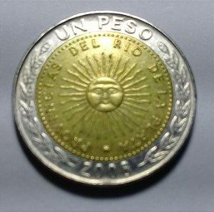 Moeda Argentina Bimetálica 1 Peso 2008