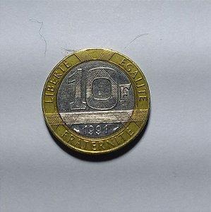 Moeda França Bimetálica 10 Francos 1991