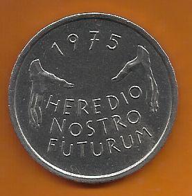 Moeda Comemorativa Ano de Proteção a Monumento Europeu de 5 Francos 1975