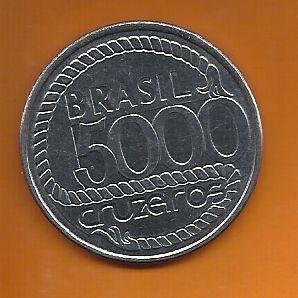 Moeda Brasil 5000 Cruzeiros Tiradentes 1992 Comemorativa