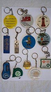 Chaveiros Lote com 12 Peças Acrílico e Metal Para Coleção Antigos