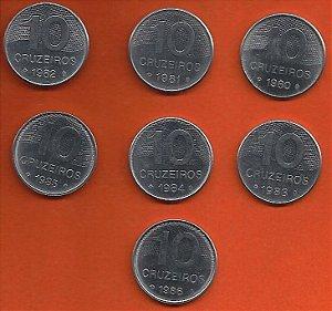 Moedas 10 Cruzeiros Lotes 7 moedas - Série Completa 1980 A 1986 Inox