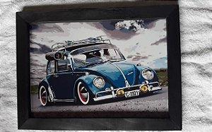 Quadro Decorativo Fusca Grande  40x30  Retro Vintage Placa de MDF com Moldura na Cor Preta