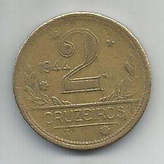 Moeda Brasil 2 Cruzeiros 1944 Bronze Alumínio 25mm Para Coleção Antiga