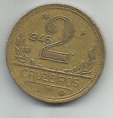 Moeda Brasil 2 Cruzeiros 1946 Bronze Alumínio 25mm Para Coleção Antiga