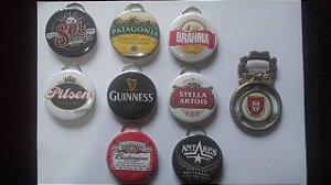Coleção 9 Peças 8 Abridores Chaveiro Tema Cerveja e 01 Abridor de Garrafa Portugal Antigo metal