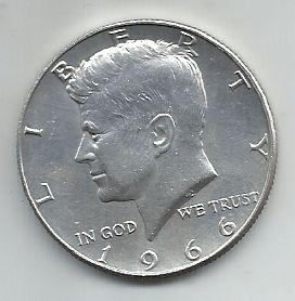 Moeda EUA Prata Half Dolar Dollar 1966 Kennedy Liberty Estados Unidos da América