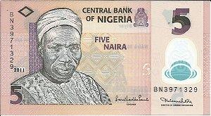 Cédula Nigéria 5 Naira Fe Polímero Original