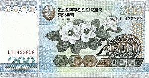 Cédula Coréia Do Norte 200 Won Flores Cédula FE
