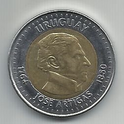 Moeda Uruguai 10 Pesos Bimetálica 2000 Comemorativa