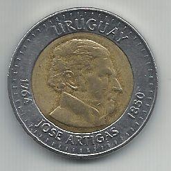 Moeda Uruguai 10 Pesos Bimetálica 2000 Comemorativa Com Asteriscos em Torno da Data