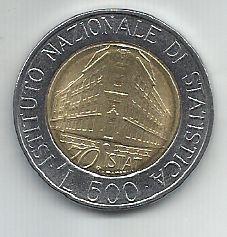 Moeda Itália 500 Liras 1996 Bimetálica comemorativa Instituto Nacional de Estatística