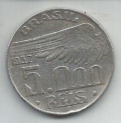 Moeda Brasil 5000 Réis 1937 Prata Santos Dumont
