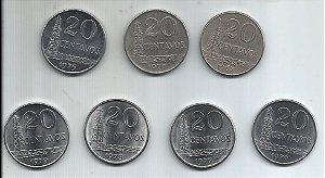 Moeda Brasil 20 Centavos Cruzeiro 1967, 1970, 1975, 1976, 1977, 1978 e 1979 Inox Série Completa