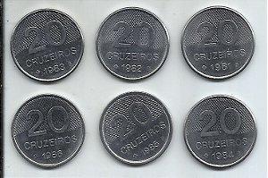 Moeda Brasil 20 Cruzeiros lote 6 Moedas 1981 a 1986 Série Completa Igreja de São Francisco de Assis
