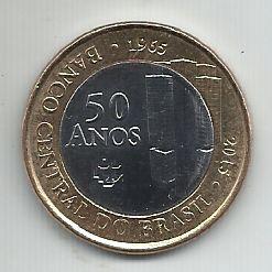 Moeda Brasil 1 Real Comemorativa 50 Anos Banco Central 2015 Bimetálica