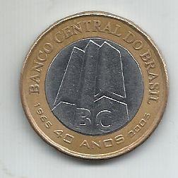 Moeda Brasil 1 Real Comemorativa 40 Anos Banco Central 2005 Bimetálica
