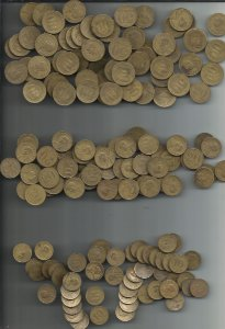 Moeda Brasil Lote 180 Moedas 50  20 e 10 Centavos Getúlio Vargas 1945 a 1947 Bronze-alumínio
