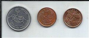 Lote 3 Moedas Real 10 centavos 1995 e 1 Centavo 1999 e 2002