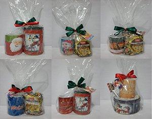 Caneca Porcelana Personalizada Natal Com mini Panettone ou Lata Biscoito Cookies