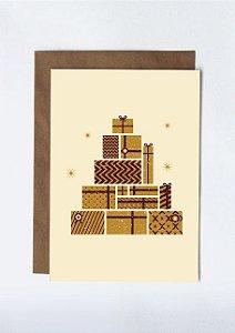 Cartão Árvore de presente - dourado