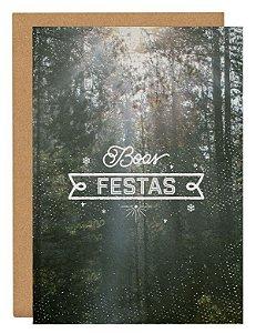 Cartão Boas festas floresta