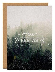 Cartão Boas festas névoa