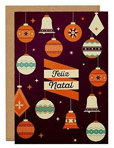 Cartão Enfeites Natal - laranja