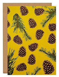 Cartão Pinhos ao vento - amarelo