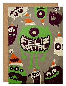 Cartão Natal monstros - cinza