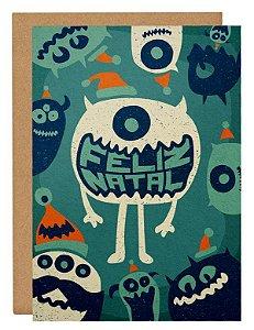 Cartão Natal monstros - azul