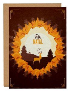 Cartão Natal luar - laranja