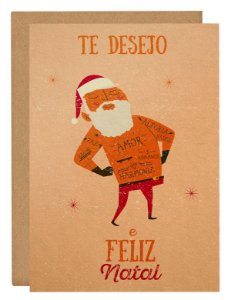 Cartão Papai Noel tatoo - laranja