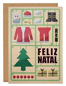 Cartão Montando Papai Noel - laranja