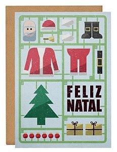 Cartão Montando Papai Noel - azul