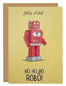 Cartão Ho Ho Robô - amarelo