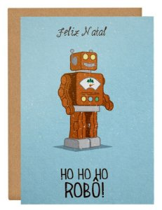 Cartão Ho Ho Robô - azul